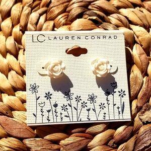 Lauren Conrad Creme Rose Earrings